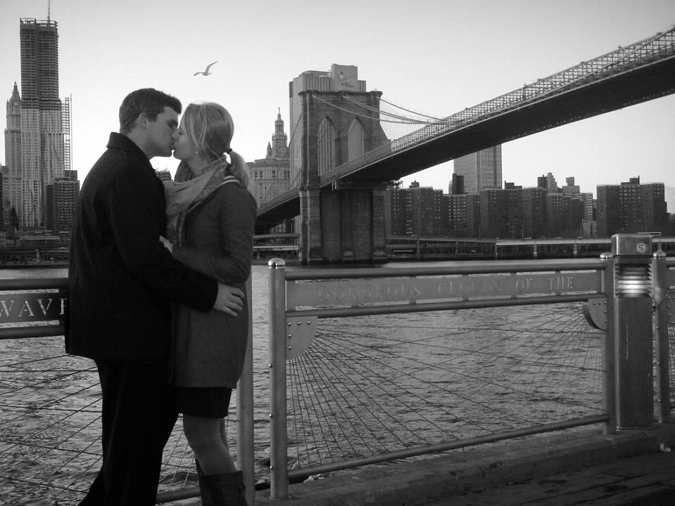 Kissing at Brooklyn Bridge