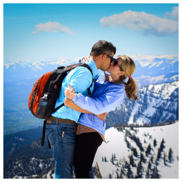 Kissing in Jackson Hole, Wyoming